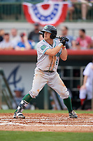 Daytona Tortugas left fielder TJ Friedl (6) at bat during a game against the Florida Fire Frogs on April 7, 2018 at Osceola County Stadium in Kissimmee, Florida.  Daytona defeated Florida 4-3 in a six inning rain shortened game.  (Mike Janes/Four Seam Images)