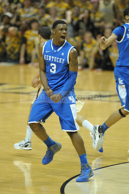 UK's forward Terrence Jones yells after scoring during the first half of the University of Kentucky men's basketball game against Vanderbilt at Memorial Gym in Nashville, Tennessee., on Feb. 11, 2012. UK led 36-23 at half. Photo by Mike Weaver | Staff