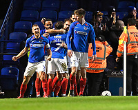 Portsmouth players mob goalscorer Brett Pitman of Portsmouth  during Portsmouth vs Altrincham, Emirates FA Cup Football at Fratton Park on 30th November 2019