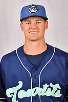 Asheville Tourists pitcher Ryan Feltner (14) during media day at McCormick Field on April 2, 2019 in Asheville, North Carolina. (Tony Farlow/Four Seam Images)