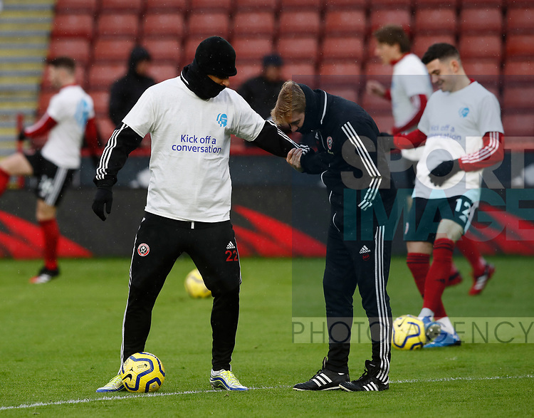 Lys Mousset of Sheffield Utd and coach Matt Prestridge during the Premier League match at Bramall Lane, Sheffield. Picture date: 9th February 2020. Picture credit should read: Simon Bellis/Sportimage
