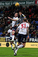 Bolton Wanderers' Jack Hobbs competing with Reading's Liam Moore  <br /> <br /> Photographer Andrew Kearns/CameraSport<br /> <br /> The EFL Sky Bet Championship - Bolton Wanderers v Reading - Tuesday 29th January 2019 - University of Bolton Stadium - Bolton<br /> <br /> World Copyright © 2019 CameraSport. All rights reserved. 43 Linden Ave. Countesthorpe. Leicester. England. LE8 5PG - Tel: +44 (0) 116 277 4147 - admin@camerasport.com - www.camerasport.com
