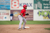 Orem Owlz third baseman Kevin Maitan (9) takes a lead off second base during a Pioneer League game against the Missoula Osprey at Ogren Park Allegiance Field on August 19, 2018 in Missoula, Montana. The Missoula Osprey defeated the Orem Owlz by a score of 8-0. (Zachary Lucy/Four Seam Images)