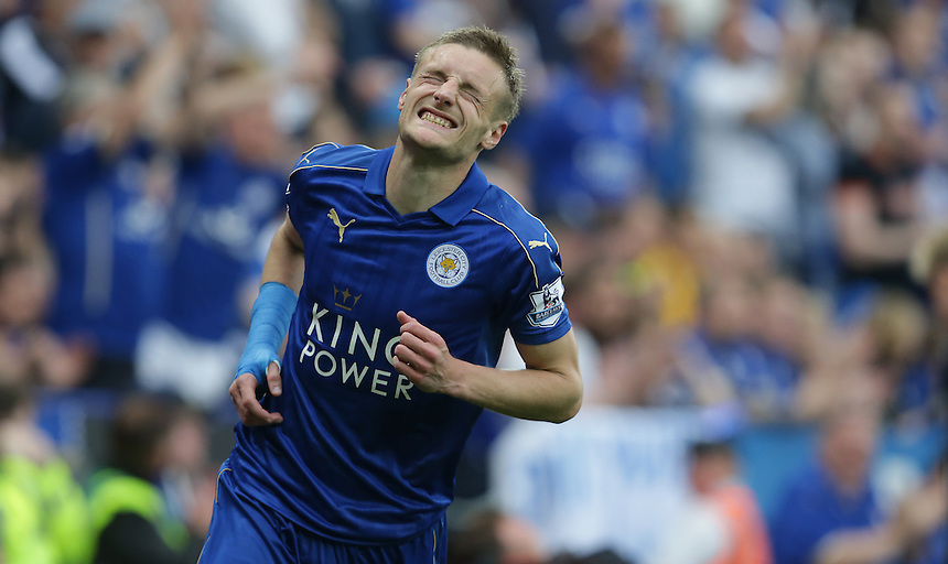 Leicester City's Jamie Vardy<br /> <br /> Photographer Stephen White/CameraSport<br /> <br /> Football - Barclays Premiership - Leicester City v Everton - Saturday 7th May 2016 - King Power Stadium - Leicester<br /> <br /> &copy; CameraSport - 43 Linden Ave. Countesthorpe. Leicester. England. LE8 5PG - Tel: +44 (0) 116 277 4147 - admin@camerasport.com - www.camerasport.com