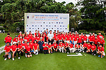Players attend clinic with SNF at the 9th Faldo Series Asia Grand Final 2014 golf tournament on March 18, 2015 at Mission Hills Golf Club in Shenzhen, China. Photo by Xaume Olleros / Power Sport Images