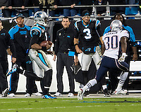 The Carolina Panthers play the New England Patriots at Bank of America Stadium in Charlotte North Carolina on Monday Night Football.  The Panthers defeated the Patriots 24-20.  Carolina Panthers quarterback Cam Newton (1), New England Patriots defensive back Duron Harmon (30)