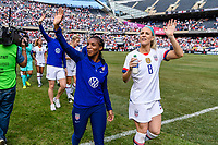 CHICAGO, IL - OCTOBER 06: Crystal Dunn #19 and Julie Ertz #8 of the United States during a game between the USA and Korea Republic at Soldier Field, on October 06, 2019 in Chicago, IL.
