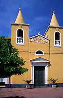 Yellow church with blue sky in a mountain town, near to Etna in Sicily, Italy, Europe