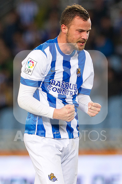 Real Sociedad's Haris Seferovic celebrates goal during Copa del Rey match.November 23,2013. (ALTERPHOTOS/Mikel)