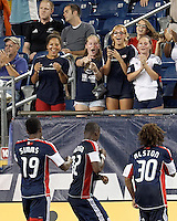 Fans celebrate New England Revolution forward Dimitry Imbongo (92) goal. In a Major League Soccer (MLS) match, the New England Revolution defeated Columbus Crew, 2-0, at Gillette Stadium on September 5, 2012.