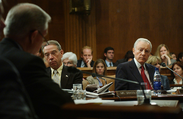 "10/16/03.JUDICIARY BILLS AND NOMINATIONS--During the Senate Judiciary Committee markup, Sen. Charles E. Grassley, R-Iowa, and Chairman Orrin G. Hatch, R-Utah, listen as Sen. Jeff Sessions, R-Ala., makes a statement opposing S 1545, the ""Development, Relief, and Education for Alien Minors (DREAM) Act of 2003."" The committee also considered several judicial nominations and other legislation..CONGRESSIONAL QUARTERLY PHOTO BY SCOTT J. FERRELL"