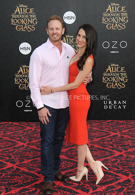 WWW.ACEPIXS.COM<br /> <br /> May 23 2016, LA<br /> <br /> Actor Ian Ziering and guest arriving at the premiere of Disney's 'Alice Through The Looking Glass' at the El Capitan Theatre on May 23, 2016 in Hollywood, California.<br /> <br /> <br /> By Line: Peter West/ACE Pictures<br /> <br /> <br /> ACE Pictures, Inc.<br /> tel: 646 769 0430<br /> Email: info@acepixs.com<br /> www.acepixs.com