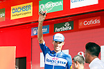 Enric Mas (ESP) Quick-Step Floors leads the young riders competition at the end of  Stage 17 of the La Vuelta 2018, running 186.1km from Ejea de los Caballeros to Lleida, Spain. 13th September 2018.                   <br /> Picture: Unipublic/Photogomezsport | Cyclefile<br /> <br /> <br /> All photos usage must carry mandatory copyright credit (&copy; Cyclefile | Unipublic/Photogomezsport)