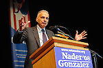 Ralph Nader speaks at a rally of his supporters at the University of Denver the same week the Democratic National Convention is in Denver, Colorado on August 27, 2008.  Organizers estimated a crowd of 4,000.
