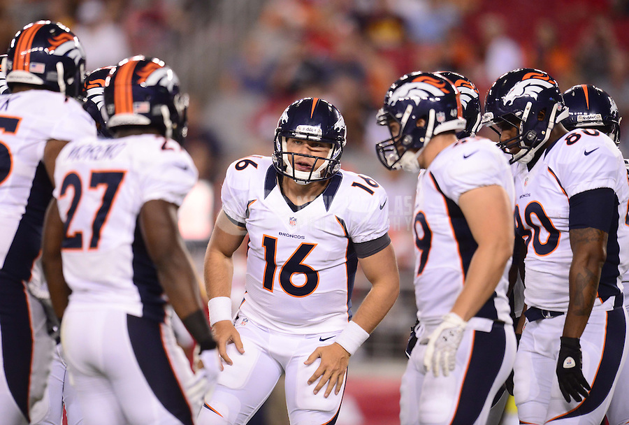 Aug. 30, 2012; Glendale, AZ, USA; Denver Broncos quarterback (16) Caleb Hanie talks to his team in the huddle in the first quarter against the Arizona Cardinals during a preseason game at University of Phoenix Stadium. Mandatory Credit: Mark J. Rebilas-
