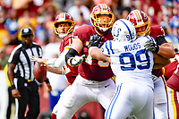 Landover, MD - September 16, 2018: Washington Redskins quarterback Alex Smith (11) in the pocket during game between the Indianapolis Colts and the Washington Redskins at FedEx Field in Landover, MD. The Colts defeated the Redskins 21-9.(Photo by Phillip Peters/Media Images International)