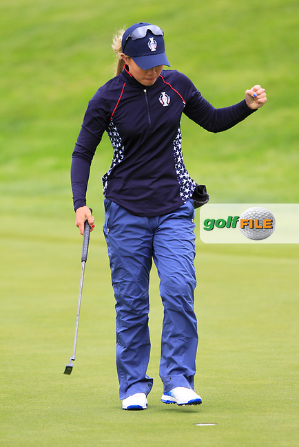 Danielle Kang (USA) on the 1st green during Day 3 Singles at the Solheim Cup 2019, Gleneagles Golf CLub, Auchterarder, Perthshire, Scotland. 15/09/2019.<br /> Picture Thos Caffrey / Golffile.ie<br /> <br /> All photo usage must carry mandatory copyright credit (© Golffile | Thos Caffrey)