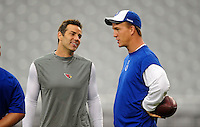 Sept. 27, 2009; Glendale, AZ, USA; Arizona Cardinals quarterback Kurt Warner (left) talks with Indianapolis Colts quarterback Peyton Manning prior to the game at University of Phoenix Stadium. Mandatory Credit: Mark J. Rebilas-