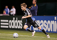 Bobby Convey dribbles the ball. San Jose Earthquakes tied Los Angeles Galaxy 1-1 at the McAfee Colisum in Oakland, California on April 18, 2009.