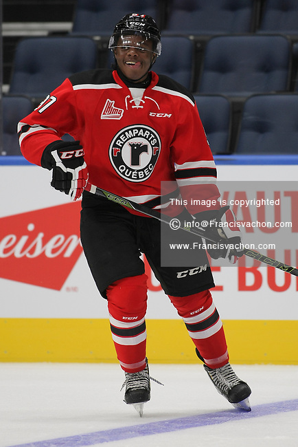 QMJHL (LHJMQ) hockey profile photo on Quebec Remparts Auguste Impose October 8, 2015 at the Centre Videotron in Quebec city.