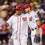 13 October 2016: Former Washington Nationals pitcher Livan Hernandez poses with Ryan Zimmerman prior to Game 5 of the NLDS against the Los Angeles Dodgers at Nationals Park in Washington, DC. The Dodgers edged out the Nationals 4-3, to take Game 5 of the Series, 3 games to 2, and move on to the National League Championship Series against the Chicago Cubs. Mandatory Credit: Ed Wolfstein Photo *** RAW (NEF) Image File Available ***
