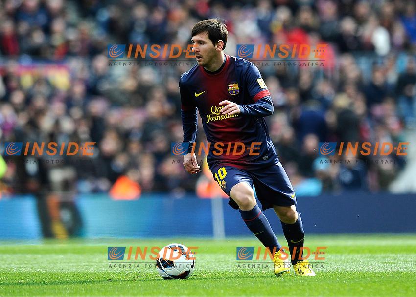 .Lionel Messi ( Barcellona )..Action .Football Calcio 2012/2013 La Liga Spagna .Barcellona Vs Getafe .Foto Panoramic / Insidefoto .ITALY ONLY