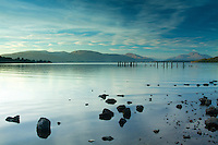 Ben Lomond, the Luss Hills and Loch Lomond from Loch Lomond Shores, Balloch, Loch Lomond and the Trossachs National Park, West Dunbartonshire