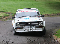 David Wilson / Dave Robson near Junction 10 on the Gleaner Oil & Gas Cooper Park Special Stage 1 of the Gleaner Oil & Gas Speyside Stages Rally 2012, Round 6 of the RAC MSA Scotish Rally Championship which was organised by The 63 Car Club (Elgin) Ltd and based in Elgin on 4.8.12..........