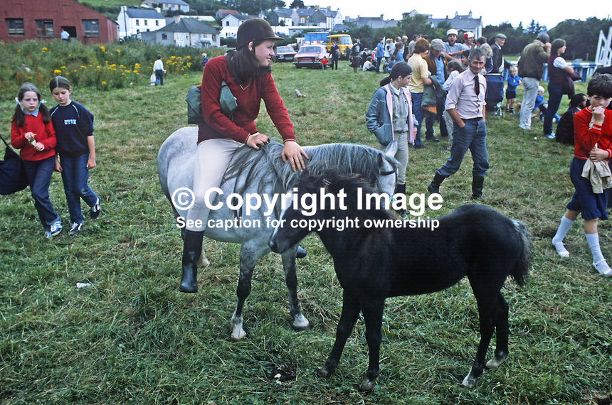 Competitors and spectators mingle at Ardara Annual Show, Ardara, Co Donegal, Ireland, August 1982. 19820800121a..Copyright Image from Victor Patterson, 54 Dorchester Park, Belfast, UK, BT9 6RJ.  Tel: +44 28 90661296  Mobile: +44 7802 353836.Email: victorpatterson@me.com Email: victorpatterson@gmail.com..For my Terms and Conditions of Use go to http://www.victorpatterson.com/ and click on Terms & Conditions
