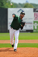 Jose Flores #28 of the Clinton LumberKings pitches against the Kane County Cougars at Ashford University Field on July 6, 2014 in Clinton, Iowa. The LumberKings won 1-0.   (Dennis Hubbard/Four Seam Images)