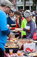 7-9 am bonus checkpoint at the All People's Church for breakfast -- riders and non riders from the neighborhood shared the meal together
