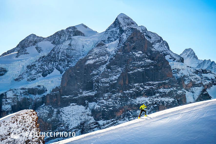 Ueli Steck using ski mountaineering for training above Grindelwald, Switzerland