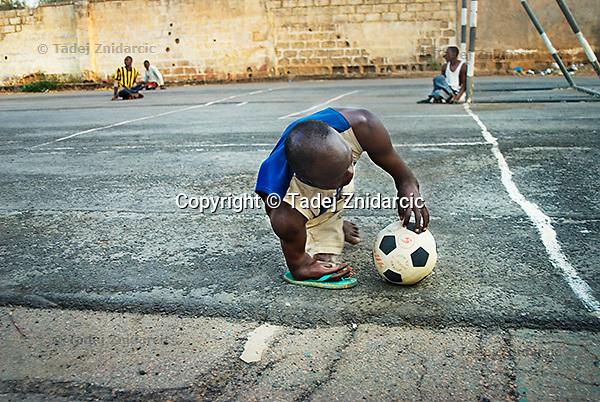 Member of KPVTA prepares for a corner-kick during para-soccer practice. Members practice the game several times a week.