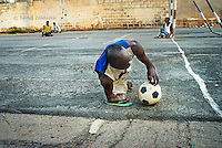 Member of KPVTA prepares for a corner-kick during para-soccer practice. Members practice the game several times a week.