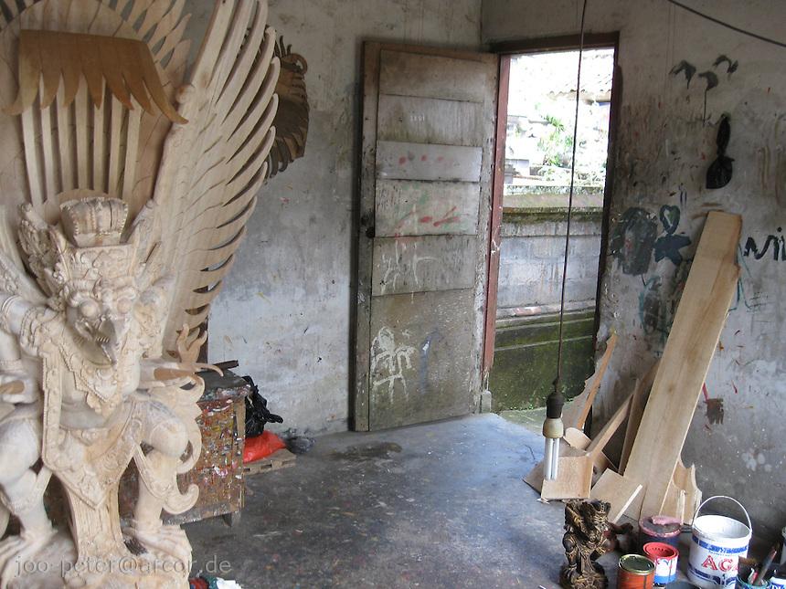 atelier of wood sculpturer  with  Garuda sculpture, Central Bali, archipelago Indonesia