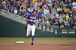 OMAHA, NE - JUNE 26: Antoine Duplantis (20) of Louisiana State University rounds second base after scoring a solo home run against the University of Florida during the Division I Men's Baseball Championship held at TD Ameritrade Park on June 26, 2017 in Omaha, Nebraska. The University of Florida defeated Louisiana State University 4-3 in game one of the best of three series.  (Photo by Justin Tafoya/NCAA Photos via Getty Images)