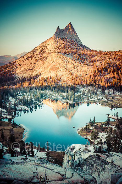 An antique looking photo of Cathedral Peak in Yosemite National Park. This picture was manipulated in Photoshop to look like an old and faded print.