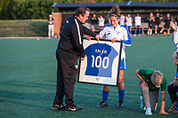 Boston, MA - Sunday September 10, 2017: President of Soccer Operations and Development Lee Billard presents Angela Salem with a jersey commemorating her 100th NWSL appearance during a regular season National Women's Soccer League (NWSL) match between the Boston Breakers and Portland Thorns FC at Jordan Field.