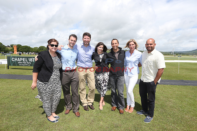 Elemis Polo at the Manor 2013<br /> Celtic Manor Resort<br /> L-R: Joanna Cahill, Chris Hopper, Gary Vanderwalt, Lauren Hopper, Jerome Lottin, Vicky Awatar &amp; Jason Awatar.<br /> 15.06.13<br /> &copy;Steve Pope