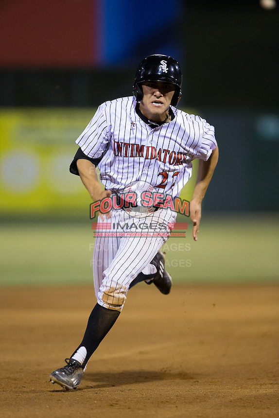 Frank Califano (22) of the Kannapolis Intimidators hustles around the bases to score the winning run against the Asheville Tourists at Intimidators Stadium on May 28, 2016 in Kannapolis, North Carolina.  The Intimidators defeated the Tourists 5-4 in 10 innings.  (Brian Westerholt/Four Seam Images)