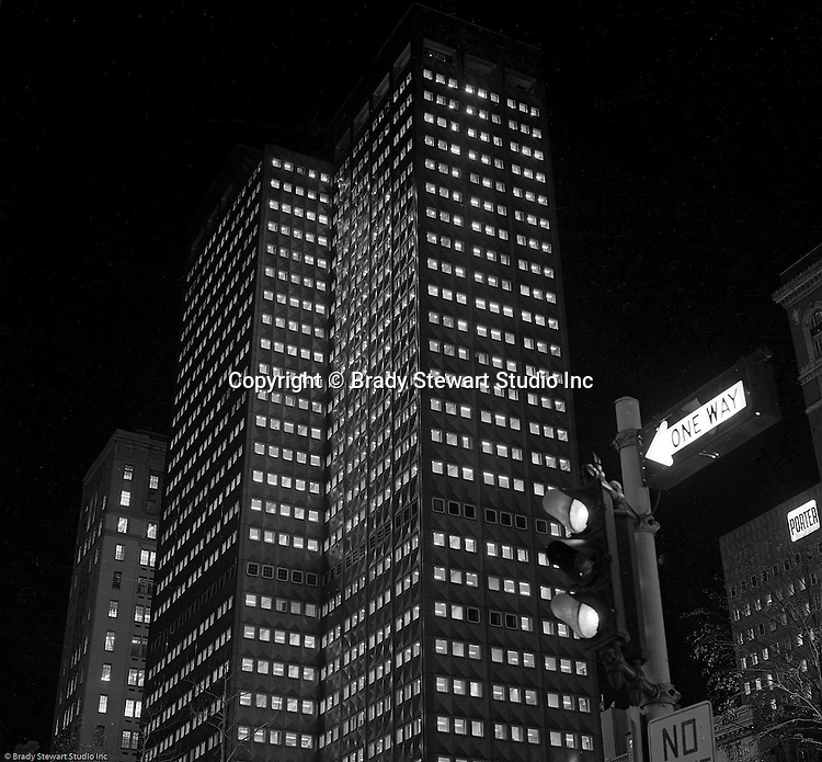 Pittsburgh PA:  View of the new corporate headquarters for the Aluminum Company of America (Alcoa) Building at night - 1953.