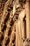 Saint statue on the main facade of Notre Dame cathedral. city of Paris. Paris. France