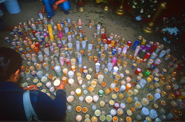 Votive Candles, Christmas Decorations, Oaxaca City, Oaxaca, Mexico
