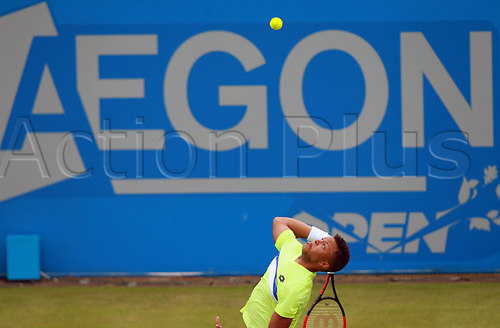 June 12th 2017,  Nottingham, England; WTA Aegon Nottingham Open Tennis Tournament day 3; 18 yr old Jay Clarke of Great Britain serves to Yuki Bhambri of India