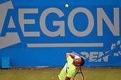 June 12th 2017,  Nottingham, England; WTA Aegon Nottingham Open Tennis Tournament day 3; 18 yr old Jay Clarke of Great Britain serves to Yuki Bhambri of India