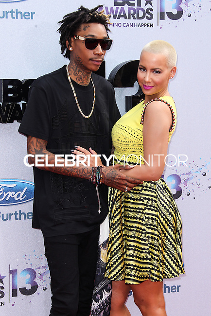LOS ANGELES, CA - JUNE 30: Wiz Khalifa and Amber Rose attend the 2013 BET Awards at Nokia Theatre L.A. Live on June 30, 2013 in Los Angeles, California. (Photo by Celebrity Monitor)