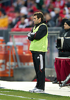 16 April 2011: D.C. United head coach Ben Olsen on the sidelines during an MLS game between D.C. United and the Toronto FC at BMO Field in Toronto, Ontario Canada..D.C. United won 3-0.