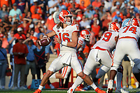 CHAPEL HILL, NC - SEPTEMBER 28: Trevor Lawrence #16 of Clemson University drops back to pass during a game between Clemson University and University of North Carolina at Kenan Memorial Stadium on September 28, 2019 in Chapel Hill, North Carolina.