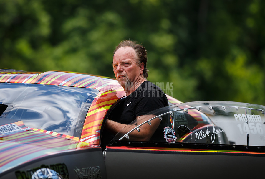 Jun 17, 2017; Bristol, TN, USA; NHRA pro mod driver Mike Janis during qualifying for the Thunder Valley Nationals at Bristol Dragway. Mandatory Credit: Mark J. Rebilas-USA TODAY Sports