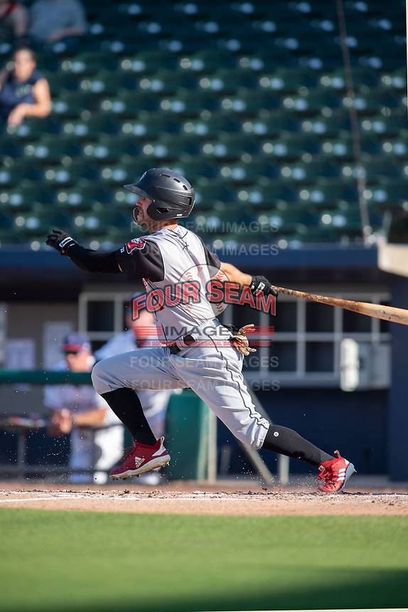 Arkansas Travelers outfielder Aaron Knapp (1) connects on a pitch during a Texas League game between the Northwest Arkansas Naturals and the Arkansas Travelers on May 30, 2019 at Arvest Ballpark in Springdale, Arkansas. (Jason Ivester/Four Seam Images)